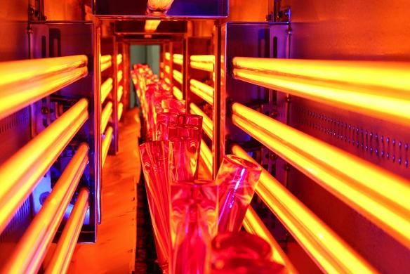 Infrarot-Strahler trocknen aufgesprühte organische Farbe auf hoch dekorativen Parfümflaschen. Bild: Heraeus